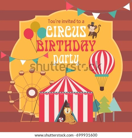 Happy Birthday Invitation Circus Party Circus Stock Vector HD - circus party invitation