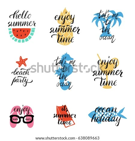 Set Style Lettering Summer Designs Hand Stock Photo (Photo, Vector