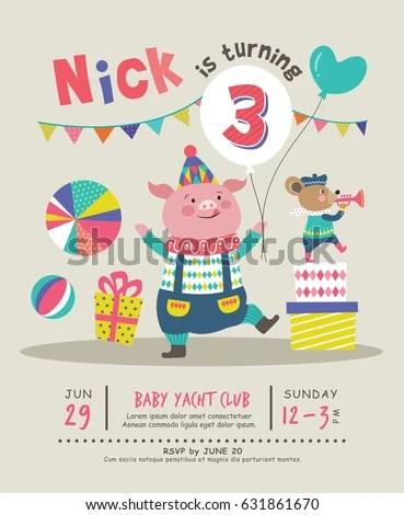 Kids Birthday Party Invitation Card Stock Vector 631861670 - kids birthday invites