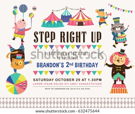 Circus Themed Birthday Party Invitations Images - Invitation - circus party invitation