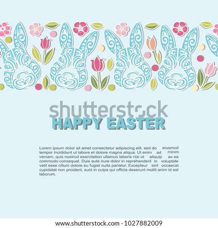 Template Bunny Head Flowers Happy Easter Stock Vector 1027882009