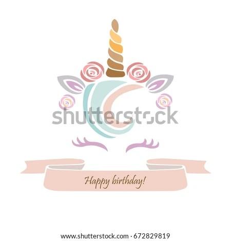 Cute Template Unicorn Cake Vector Illustration Stock Photo (Photo - unicorn template