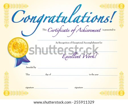 CONGRATULATIONS CERTIFICATE ACHIEVEMENT Stock Vector 255911329 - congratulations certificate