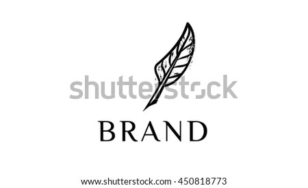 Writing Feather Vector Logo Template Feather Stock Vector 450818773