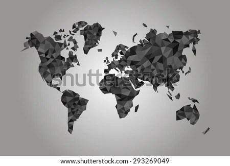 World Map Polygonal Precision Lowpoly Black Stock Photo (Photo