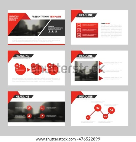 Red Triangle Presentation Templates Infographic Elements Stock