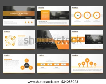 Orange Abstract Presentation Templates Infographic Elements Stock
