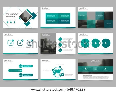 Green Square Abstract Presentation Templates Infographic Stock
