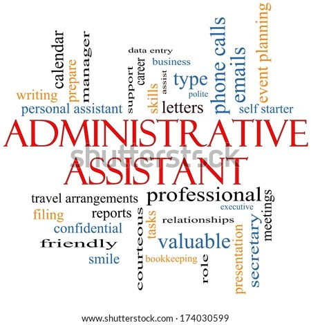Administrative Assistant Word Cloud Concept Great Stock Illustration - administrative assistant
