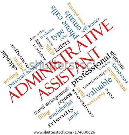 Administrative Assistant Word Cloud Concept Angled Stock - administrative assistant