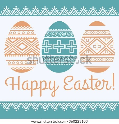 Happy Easter Greeting Card Template Easter Stock Vector 360223103