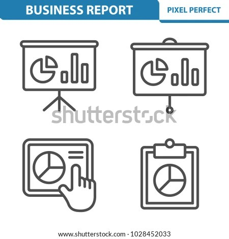 Business Report Icons Professional Pixel Perfect Stock Vector - professional business report format