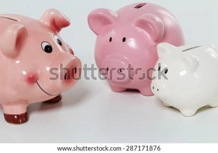 Three Piggybanks On Table Closeup Budgeting Stock Photo 287171876