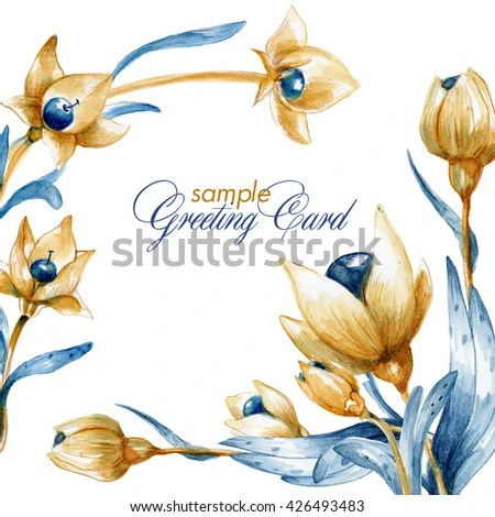 Watercolor Sample Greeting Card Unreal Flowers Stock Illustration