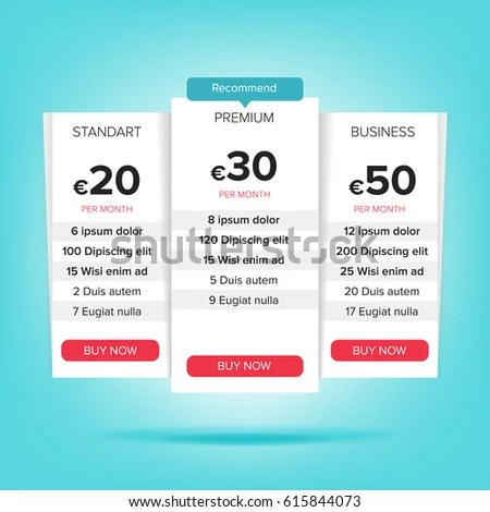Pricing Business Plans Pricing Plans Template Stock Illustration - price chart template