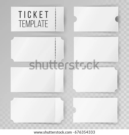 Ticket Template Set Invitation Coupon Isolated Stock Illustration