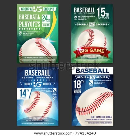 Baseball Poster Set Vector Design Sport Stock Vector (Royalty Free