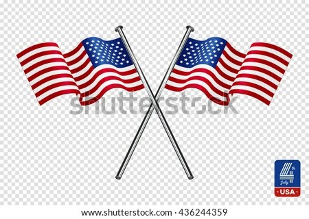 American Flag On Transparent Background Happy Stock Vector (Royalty - America Flag Background