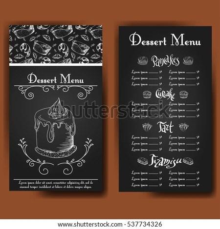 Template Dessert Menu Sweet Tasty Cakes Stock Vector (Royalty Free
