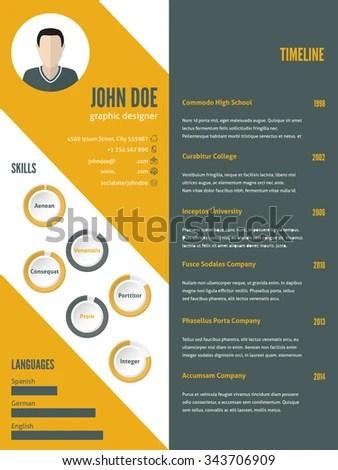 New Modern Resume Cv Curriculum Vitae Stock Vector 343706909 - modern resume design