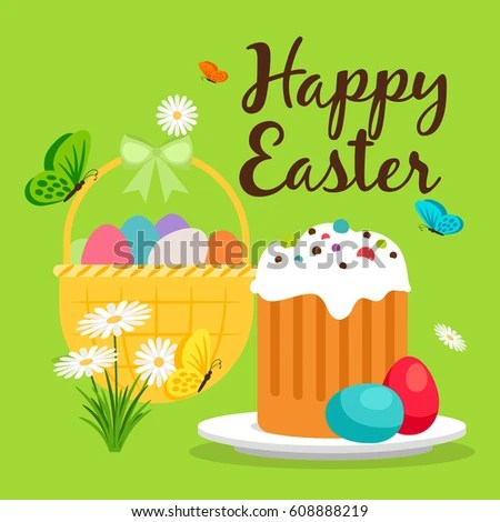 Happy Easter Greeting Card Template Easter Stock Vector 608888219