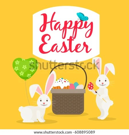 Happy Easter Greeting Card Template Easter Stock Vector 608895089 - easter greeting card template
