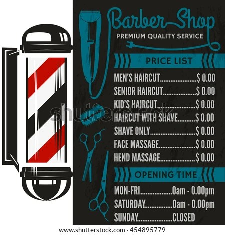 Barber Shop Vector Price List Template Stock Photo (Photo, Vector - price list template