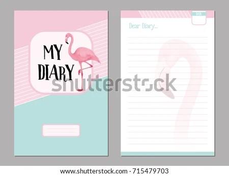 Personal Diary Template Set Pink Flamingo Stock Photo (Photo, Vector - diary design