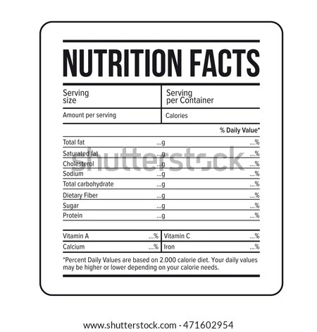 Nutrition Facts Label Template Vector Stock Vector 471602954 - ingredient label template