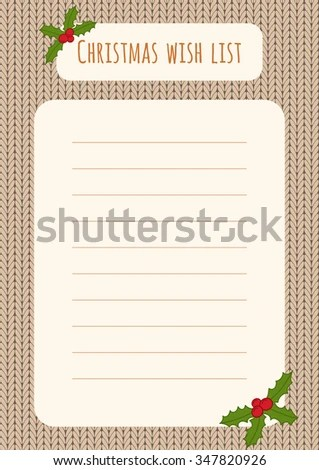 Christmas Wish List Design Template Over Stock Illustration - christmas wish list paper