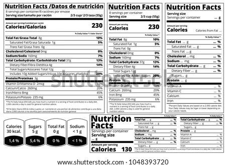 Vector Nutrition Facts Food Table Label Stock Vector 1048393720