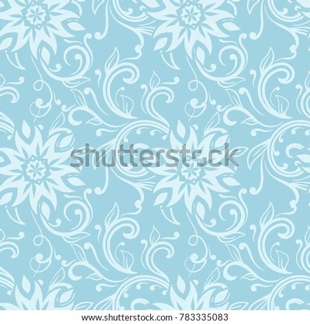 Floral Ornaments Blue White Seamless Pattern Stock Vector 783335083 - blue flower backgrounds