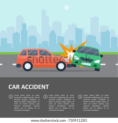 Car Accident Template Street Crash Vehicle Stock Vector (Royalty