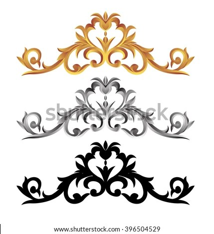 Corner Gold Vintage Baroque Frame Scroll Stock Vector (2018 - baroque scroll designs