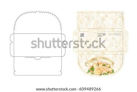 Envelope Template Flap Design Easy Fold Stock Vector 609489266