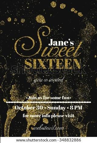 Sweet Sixteen Glitter Party Invitation Flyer Stock Vector (Royalty - invitation flyer sample