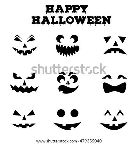Collection Halloween Pumpkins Carved Faces Silhouettes Stock Vector - halloween templates to cut out