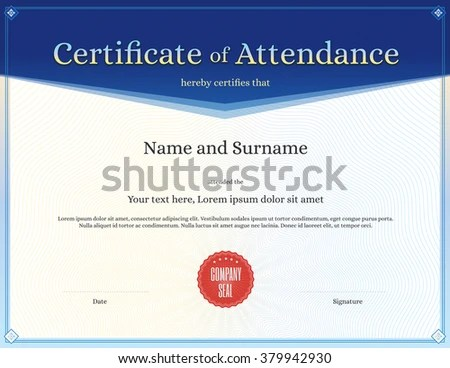 Certificate Attendance Template Vector Achievement Graduation Stock - attendance template