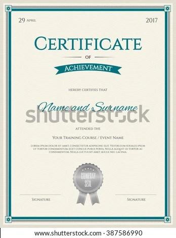 Certificate Achievement Template Portrait Orientation Graduation - free certificate of achievement