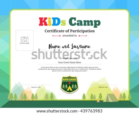 Colorful Modern Certificate Participation Template Kids Stock - certificate template for kids