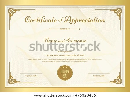 Certificate Appreciation Template Vintage Gold Border Stock Vector - certificate of appreciation