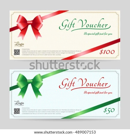 Christmas Gift Card Gift Voucher Template Stock Vector 489007153 - christmas gift vouchers templates