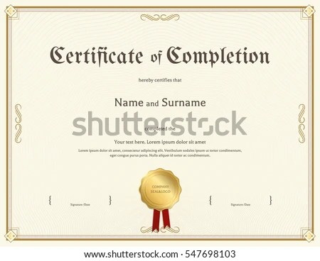 Certificate Completion Template Vintage Theme Stock Vector 547698103 - certification of completion sample
