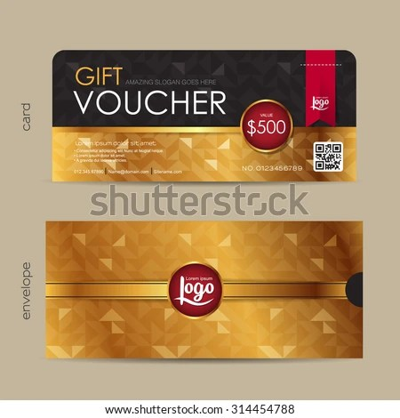 Gift Voucher Template Premium Pattern Envelope Stock Vector - food voucher template