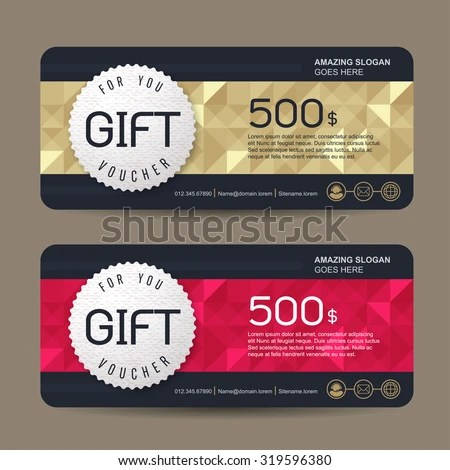 Gift Voucher Template Colorful Patterncute Gift Stock Vector HD
