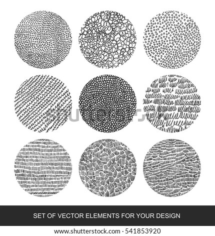 Collection Isolated Textures Brushes Graphics Design Stock Vector