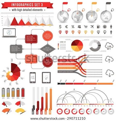 Template Set Infographics With Bar Charts Stock Vector HD (Royalty - graphs and charts templates