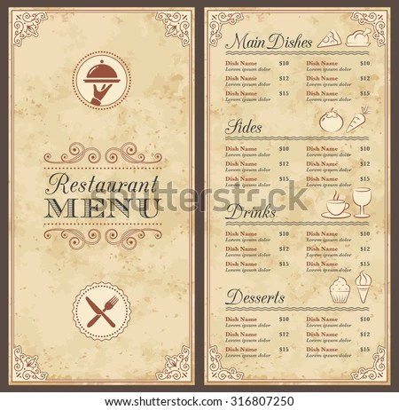 Classic Restaurant Menu Template Nice Icons Stock Vector (Royalty