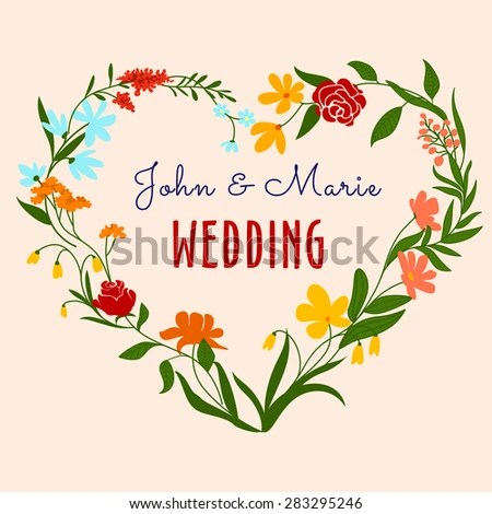 Vintage Wedding Invitation Template Design Heart Stock Vector