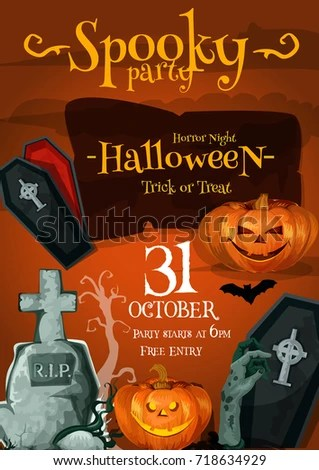 Halloween Spooky Night Poster Death Party Stock Vector HD (Royalty